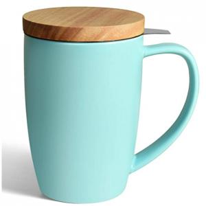 COYMOS 16oz陶瓷茶杯 带不锈钢茶滤 木质杯盖 @ Amazon